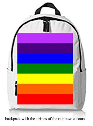 backpack with the stripes of the rainbow colours
